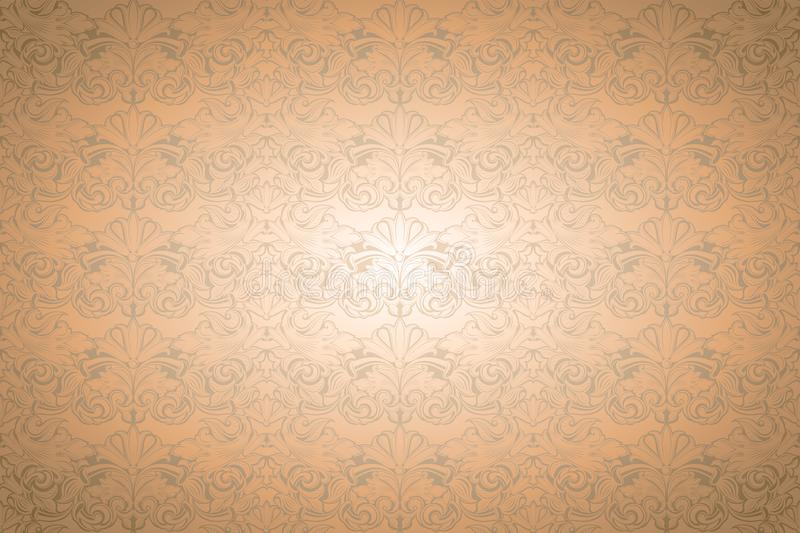 Gold vintage background, royal with classic Baroque pattern. Gold vintage background , royal with classic Baroque pattern, Rococo with darkened edges vector illustration