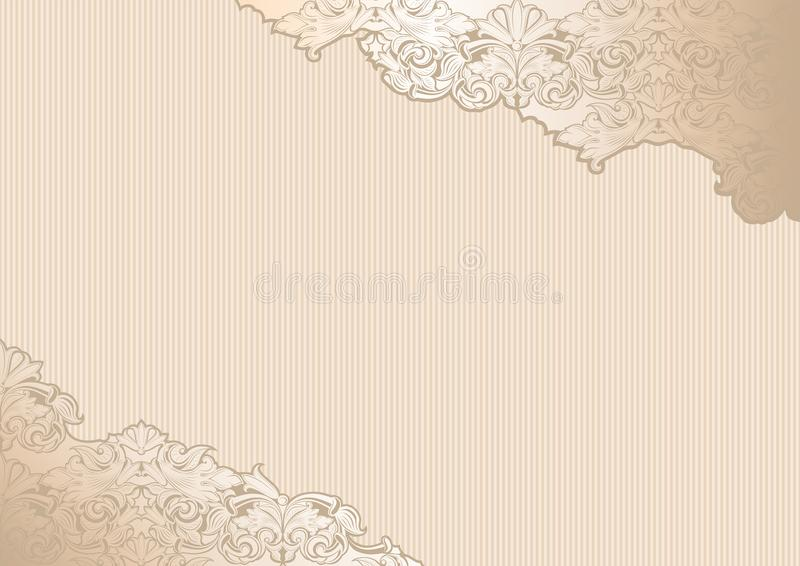 Gold vintage background, royal with classic Baroque pattern. Gold vintage background , royal with classic Baroque pattern, Rococo with darkened edges royalty free illustration