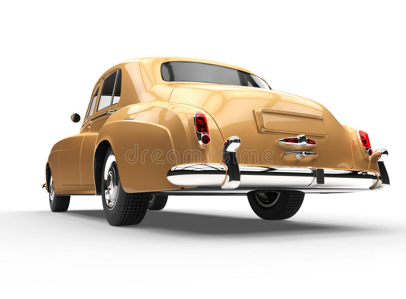 Gold Vintage Car - Rear View vector illustration