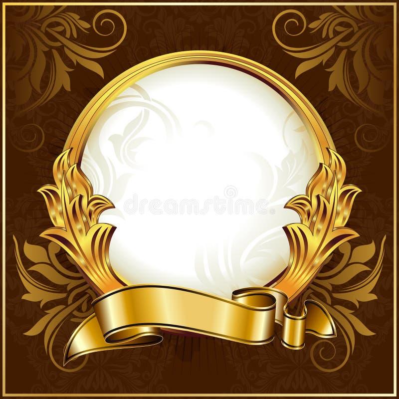 Gold vintage circle frame vector illustration