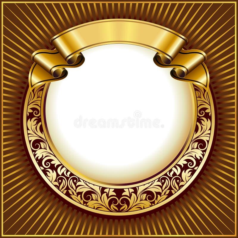 Gold vintage circle frame with ribbon stock illustration