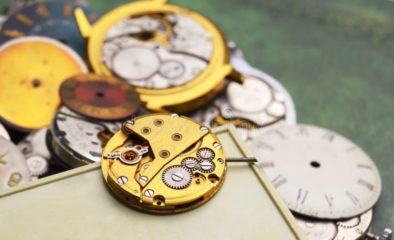 Gold vintage clockworks royalty free stock image