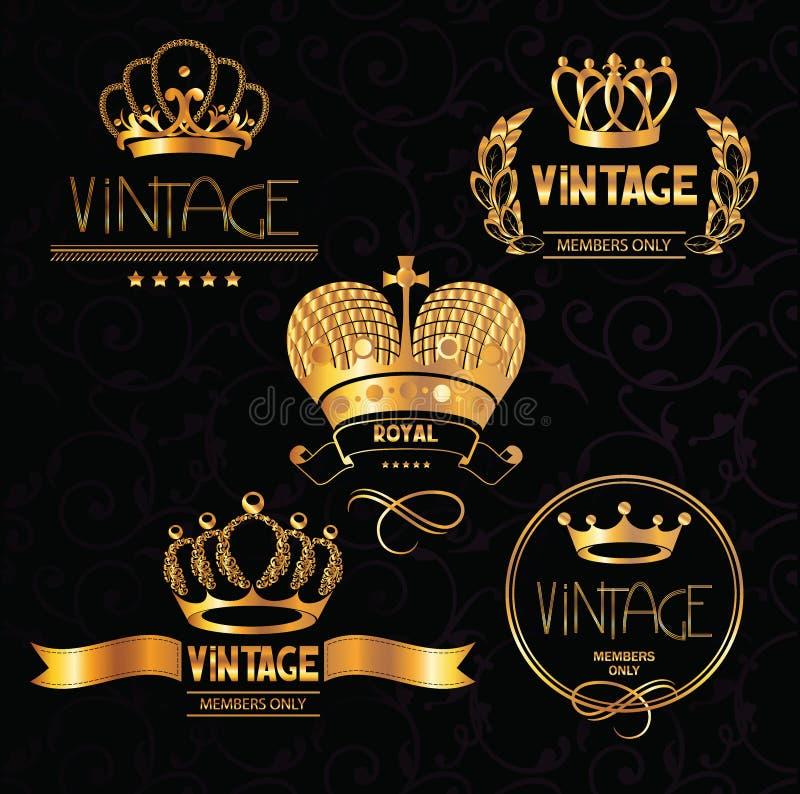 Gold vintage crowns with floral design elements stock illustration