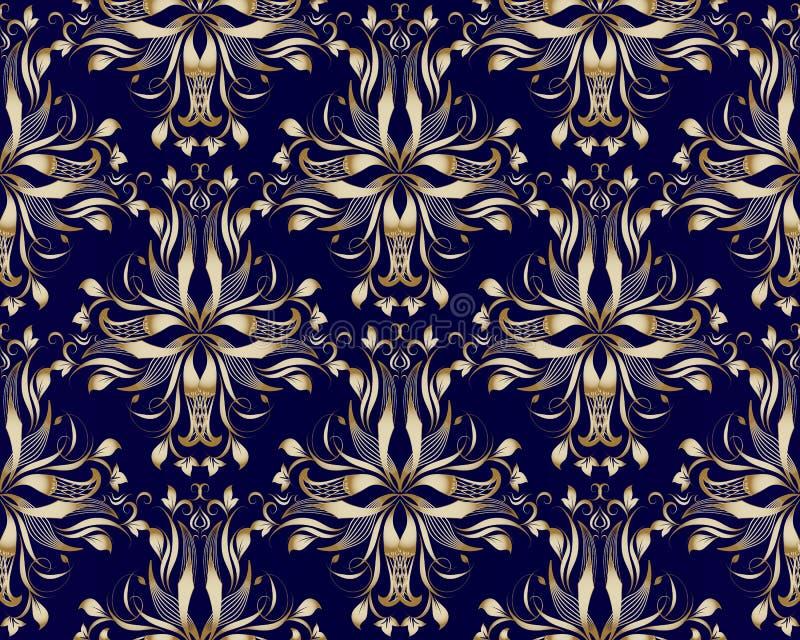 Dark Blue Damask Wallpaper: Gold Vintage Damask Seamless Pattern. Floral Vector Dark