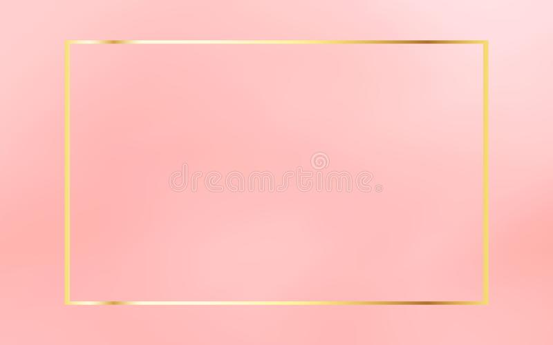 Gold vintage frame isolated on coral pink background. Luxurious template element. vector illustration