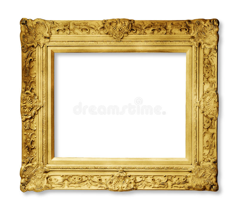 Gold vintage frame isolated stock photos