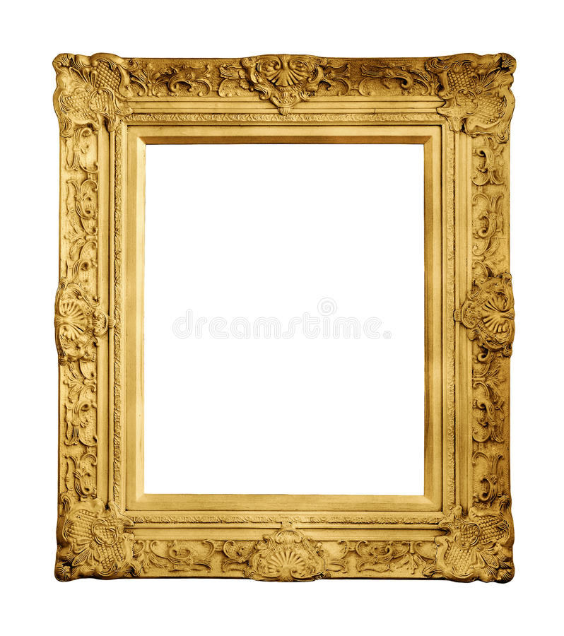 Gold vintage frame isolated royalty free stock image