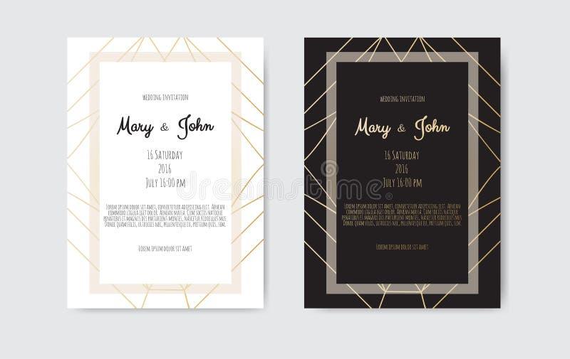 Gold vintage greeting card on a black background. Gold vintage greeting card on a black background stock illustration