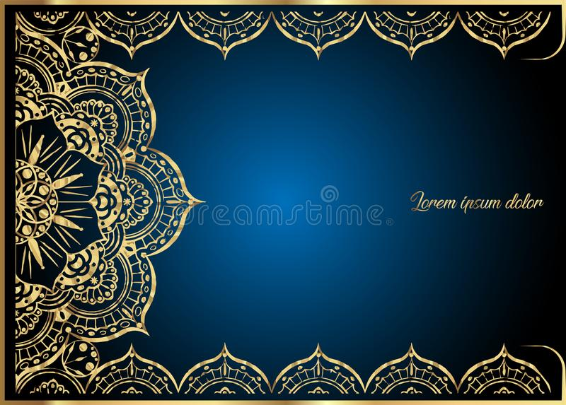 Gold vintage greeting card on blue background. Luxury ornament template. Great for invitation, flyer, menu, brochure. Golden vintage greeting card on dark blue vector illustration