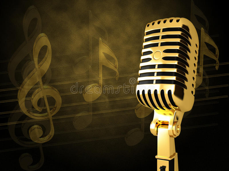 Gold vintage microphone. On the background of notes stock illustration