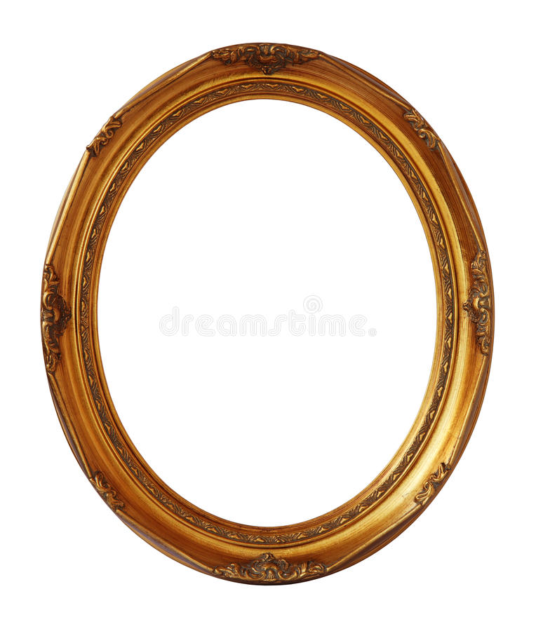 Gold vintage oval photo frame isolated, clipping path. royalty free stock image