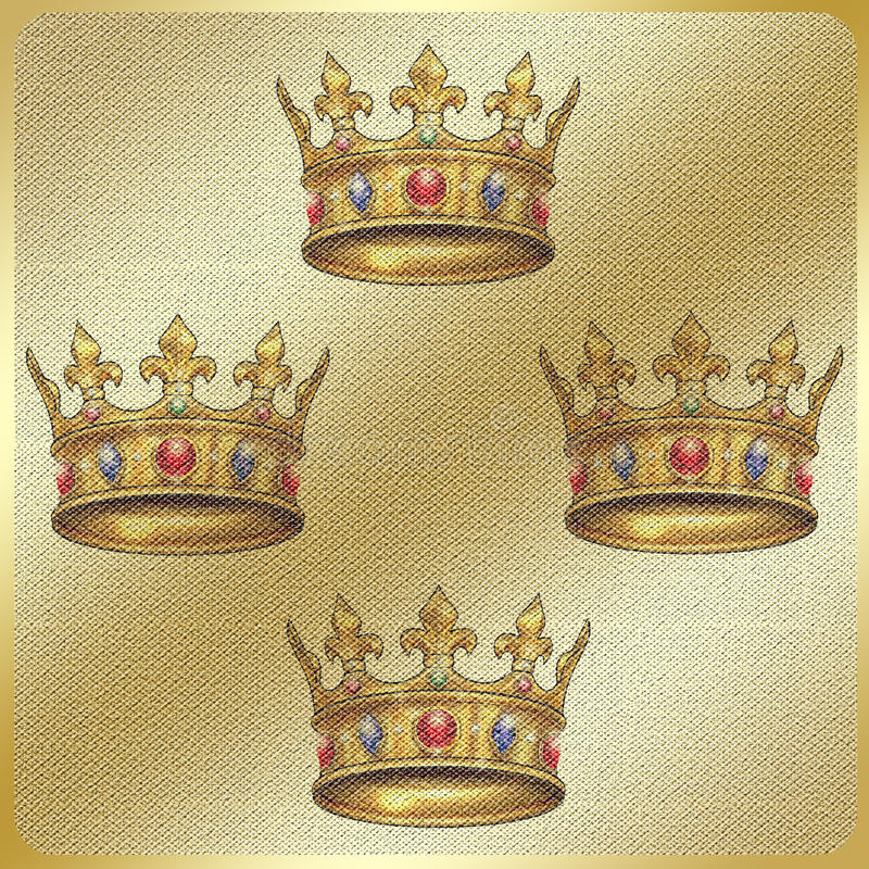 Gold Crown vintage pattern. Gold vintage pattern with gold royal crown on gold fabric background. Vintage, textile. Hand Drawn illustration. Torah Cown. For art stock illustration