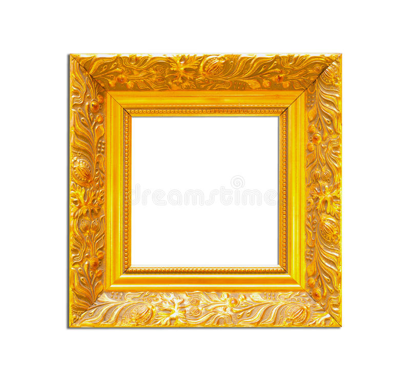 Free Gold Vintage Picture Frame On White Background Stock Photography - 25892552