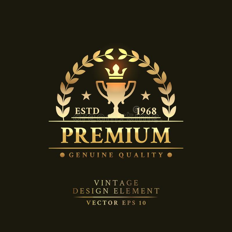 Free Gold Vintage Retro Badge With Cup Royalty Free Stock Images - 101246239