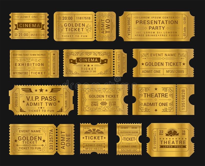 Gold vintage tickets realistic vector illustrations set stock illustration