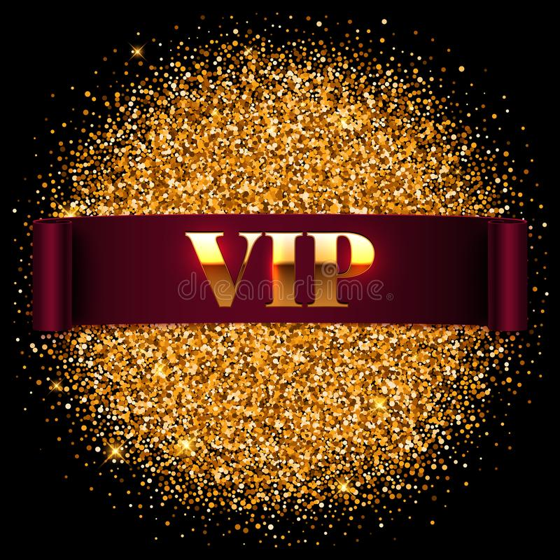 Gold vip label, realistic ribbon on shiny glitter background royalty free illustration