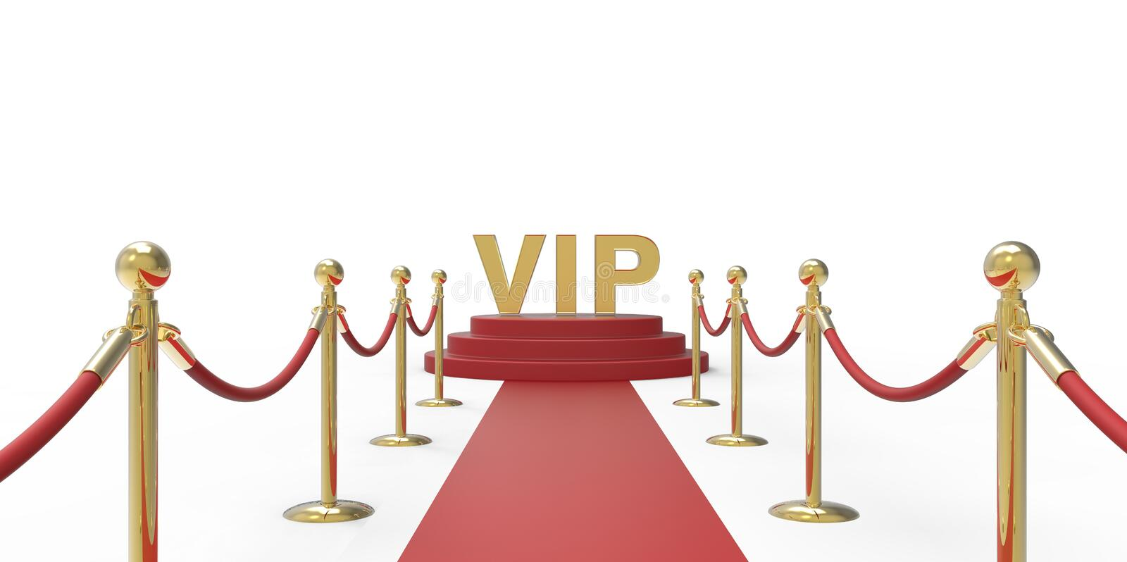 Gold VIP text on red carpet VIP way gold fence on white gray background stock illustration
