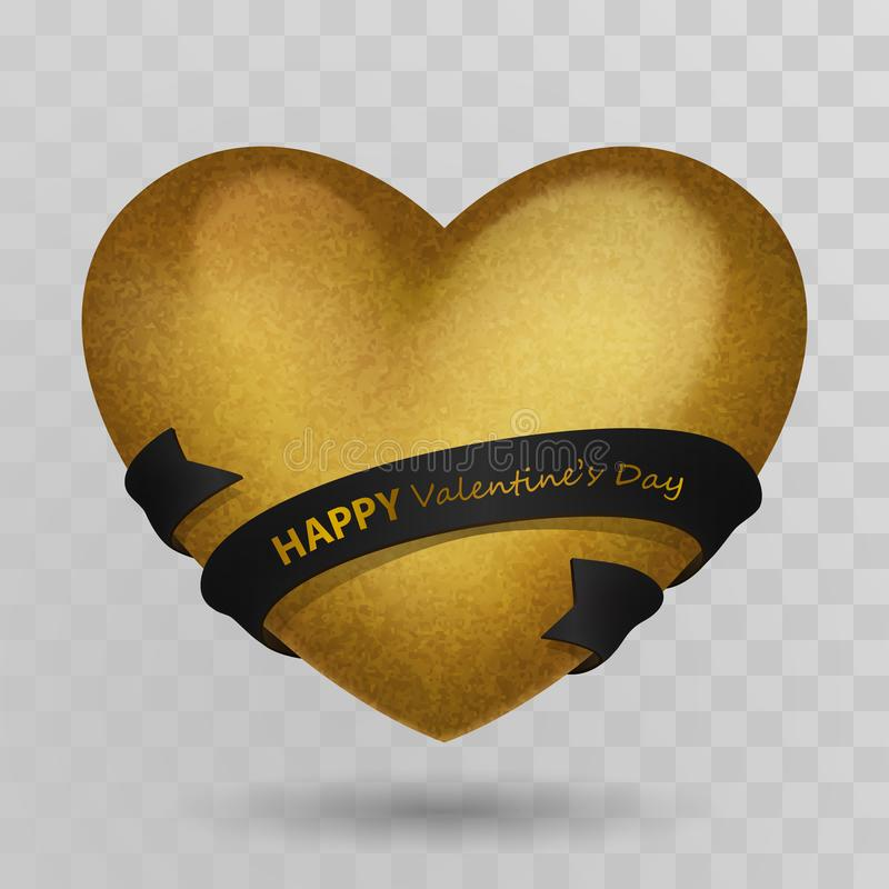 Gold volumetric retro heart and black ribbon with golden lettering Happy Valentines Day. Isolated on transparent background with vector illustration