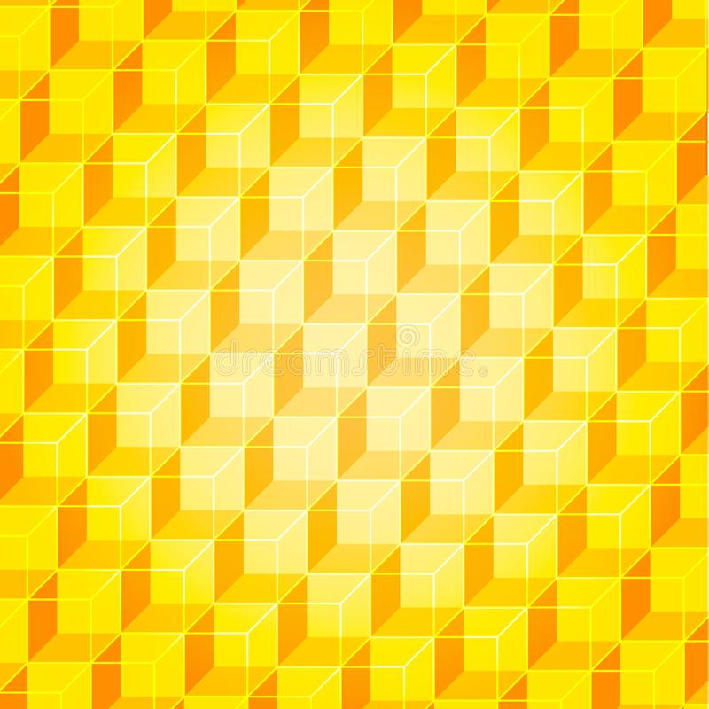 Gold wall geometric background from cubes with golden faces stock illustration