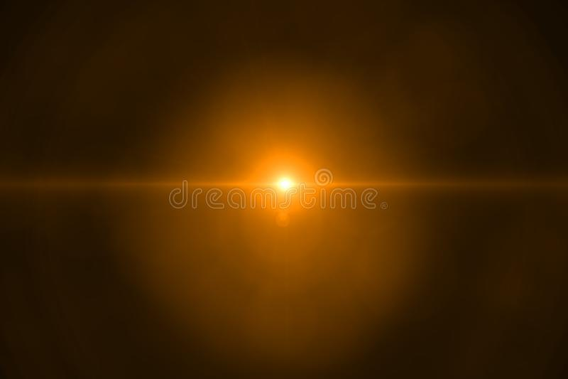 Gold warm color bright lens flare rays flashes leak for transitions on black background, for movie. Titles stock photos