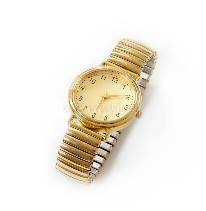 Gold watch. On white background stock photos