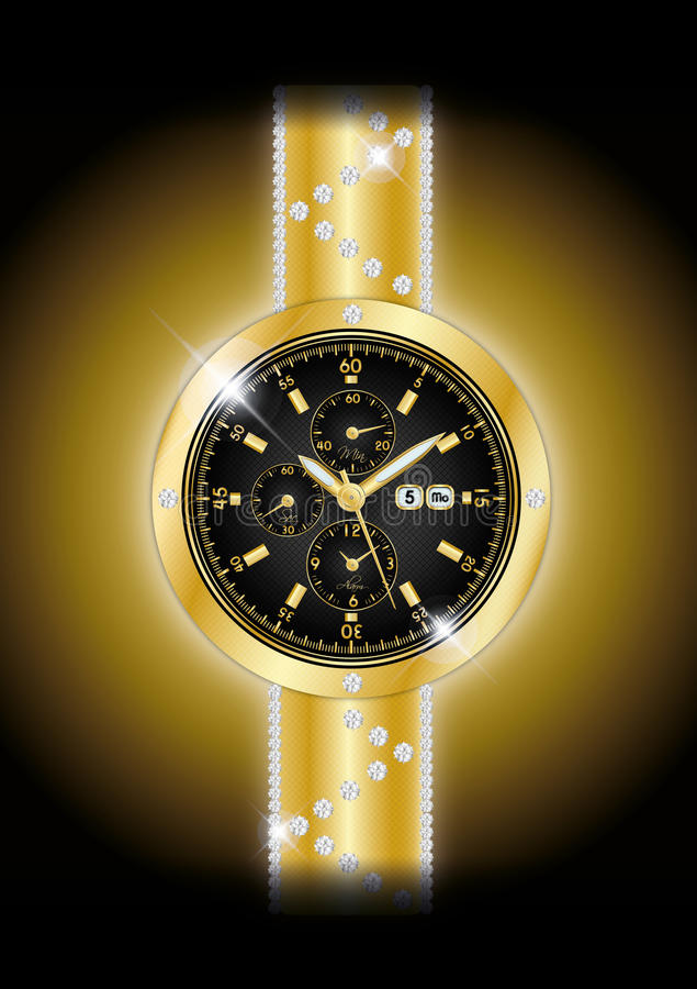 Gold watches. Gold black watches illustration background royalty free illustration