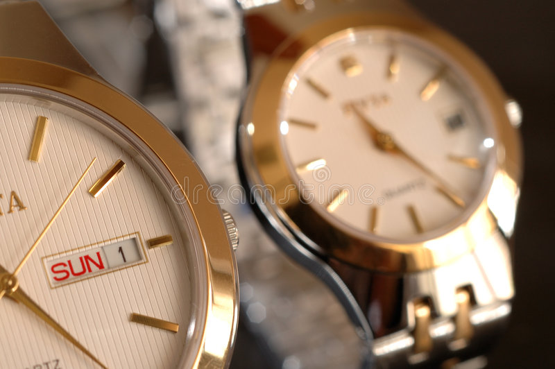 Gold watches royalty free stock image
