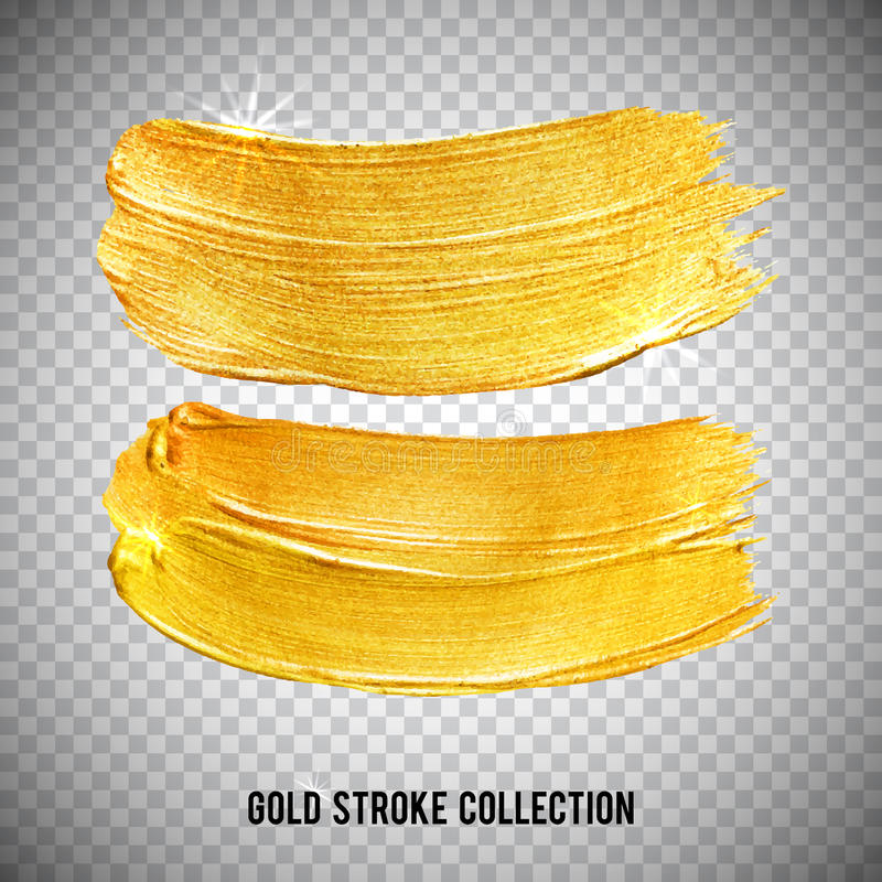 Gold watercolor texture paint stain abstract illustration set. Shining brush stroke for you amazing design project of stock illustration