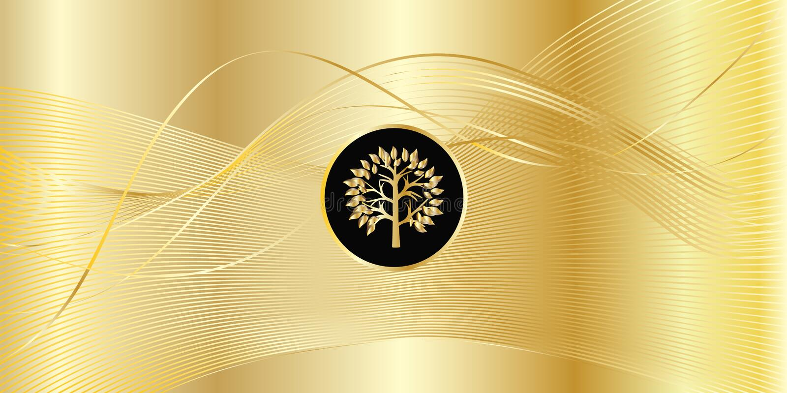 Gold wavy background. Gold waves background, vector. Abstract Digital vector illustration. Gold logo of tree on black circle frame and gold waves textured vector illustration