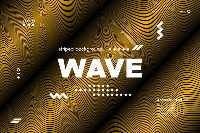 Gold Wave Banner with Distorted Lines. Gold Abstract Banner with Ripple Effect. Linear Background with Movement. 3d Striped Poster with Distortion of Surface stock illustration
