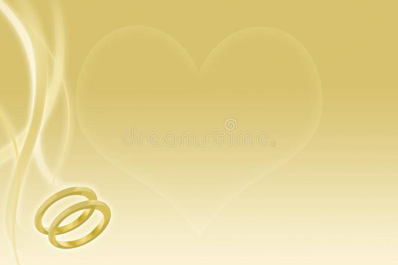 Gold wedding background with rings and heart stock illustration