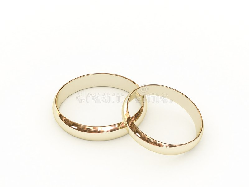 Gold wedding rings stock photo