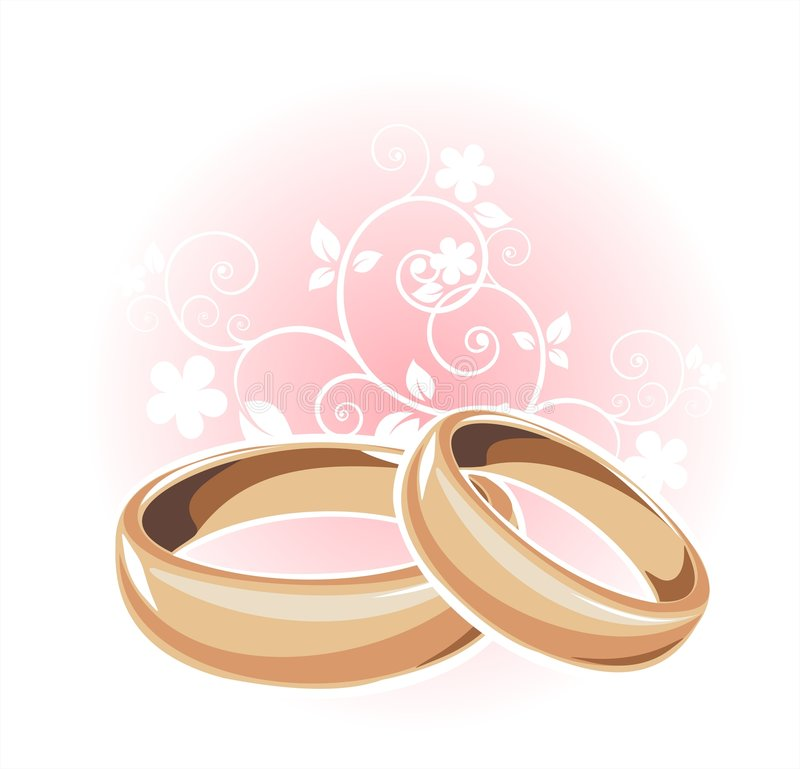 Gold wedding rings royalty free illustration
