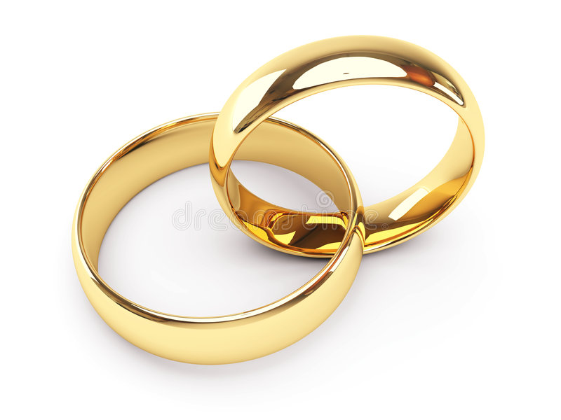 Gold wedding rings royalty free illustration