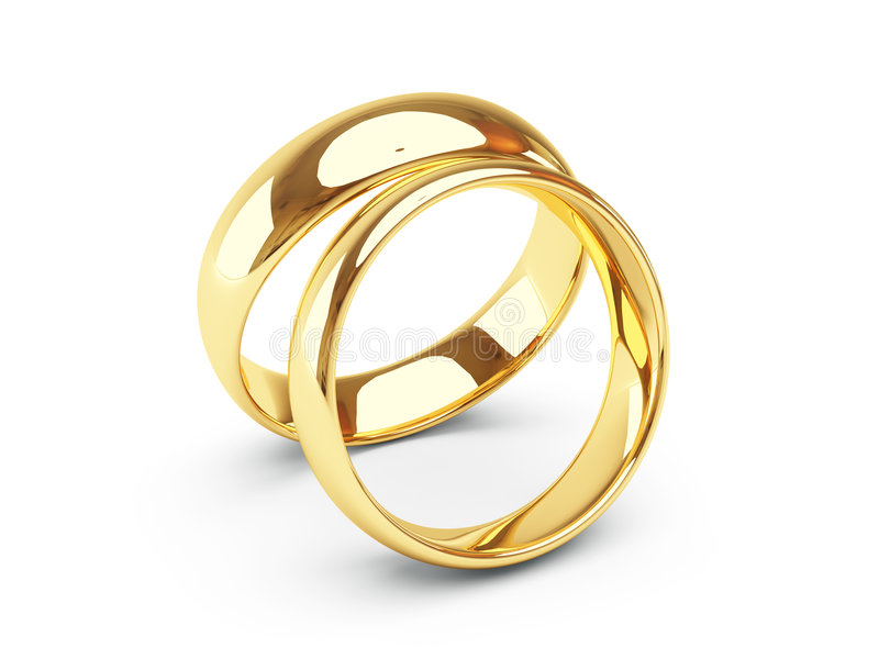 Gold wedding rings. 3d isolated gold wedding rings vector illustration