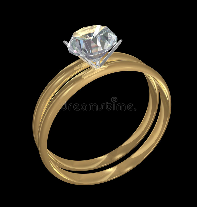 Gold Wedding Rings with Diamond royalty free illustration