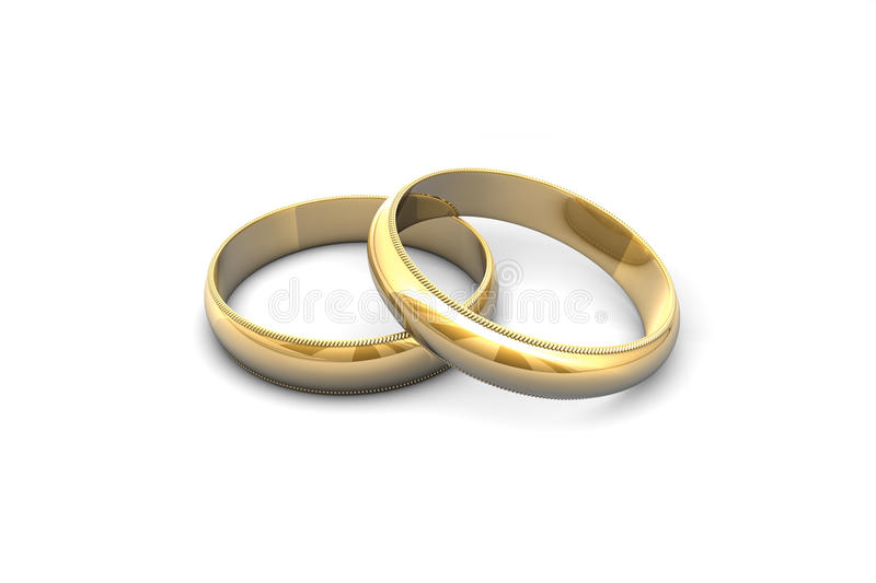 Gold wedding rings. Gold wedding rings isolated on white background royalty free illustration