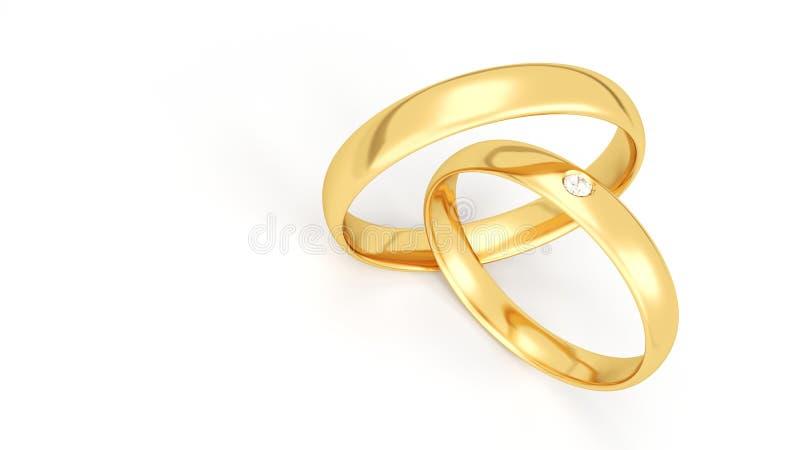 Gold wedding rings isolated on white background. Diamond. royalty free illustration