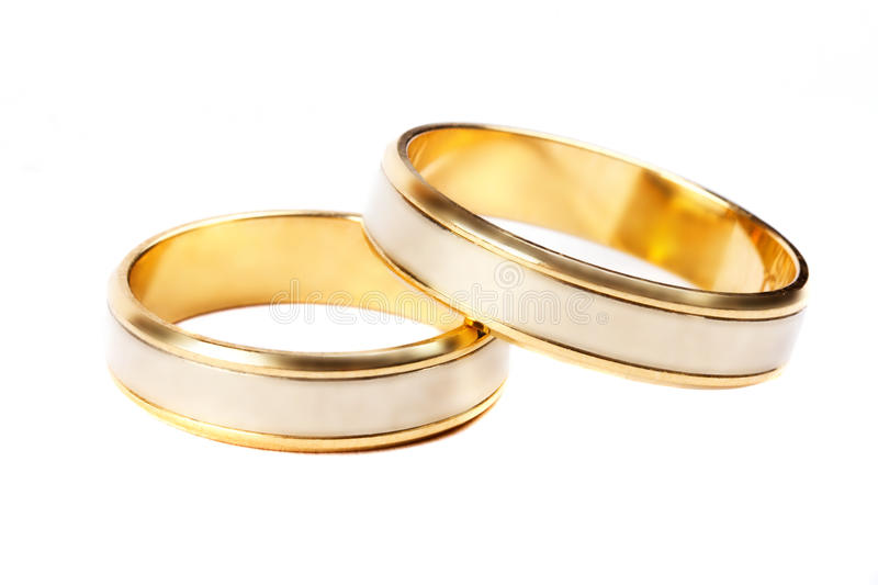 Download Gold Wedding Rings Over White Stock Image - Image: 24780453