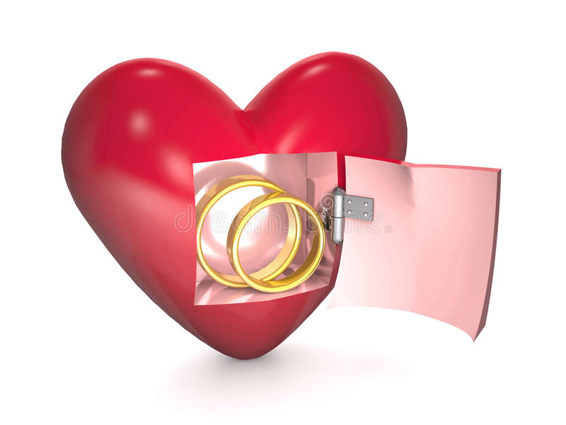 Gold wedding rings and red heart on white background. vector illustration