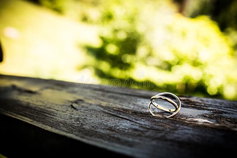 Gold wedding rings. Relationship, commitment, love royalty free stock photo