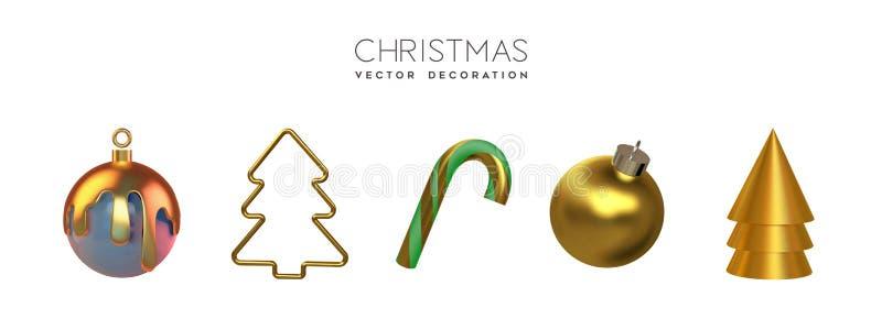 Gold-Weihnachtsgeschenk-3D-Ornament vektor abbildung