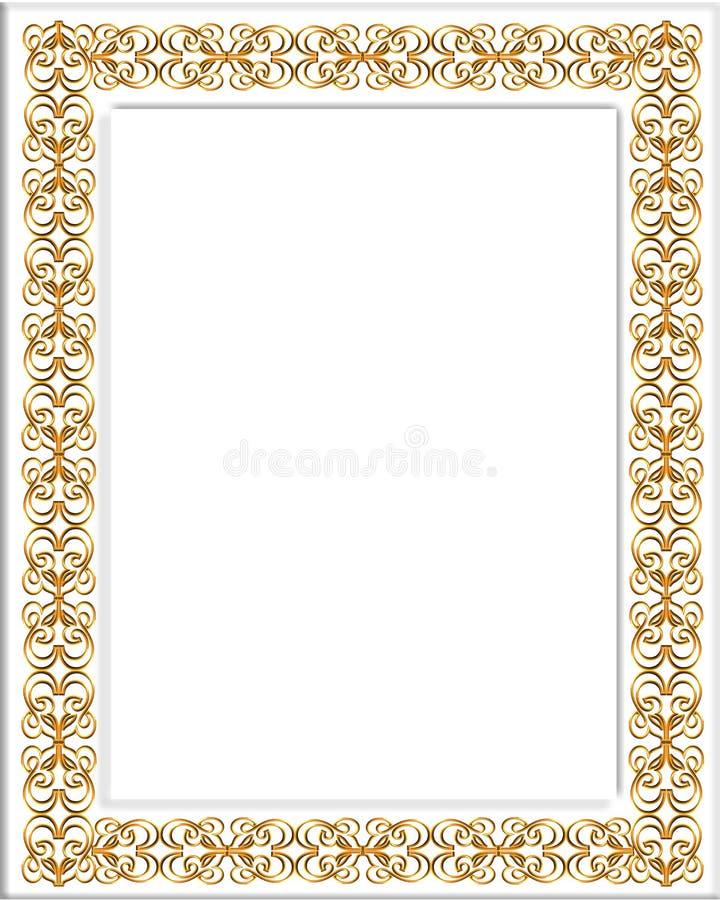 Gold and White 3D Frame stock illustration