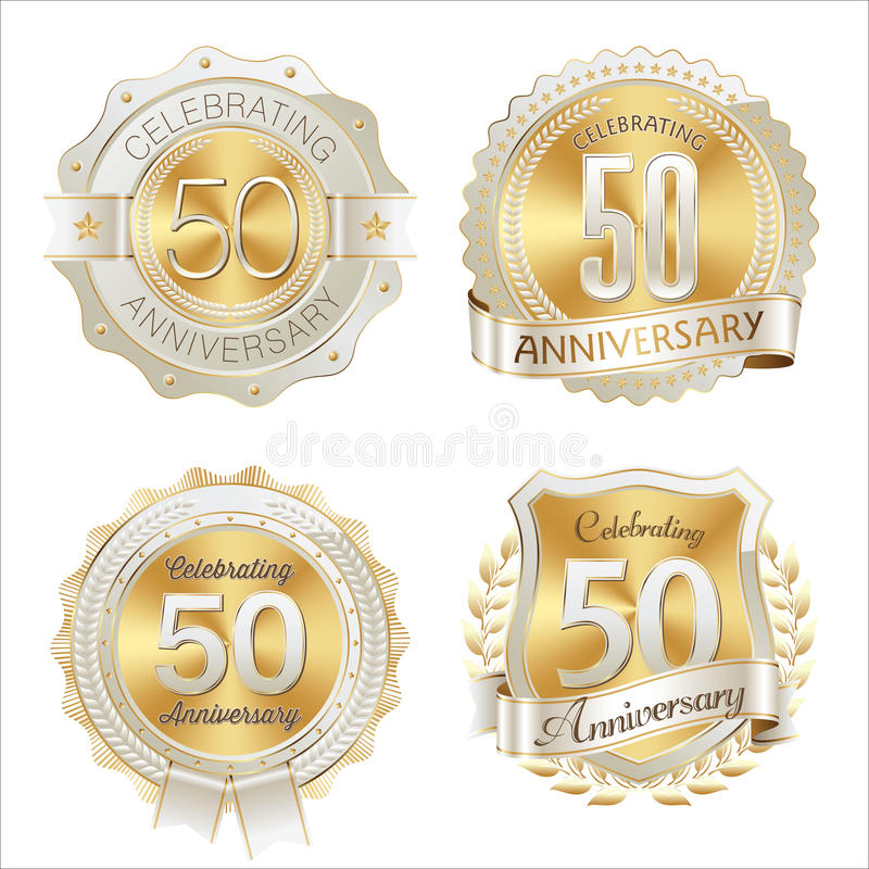 Gold and White Anniversary Badges 50th Years Celebration. Vector stock illustration