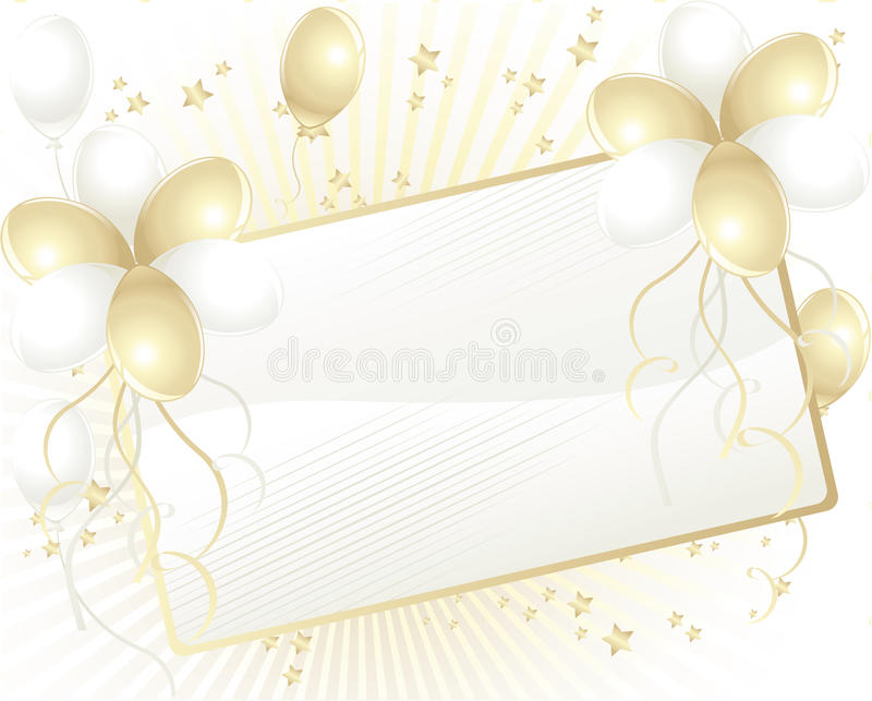 Gold And White Balloons With Card For Text Stock Photo