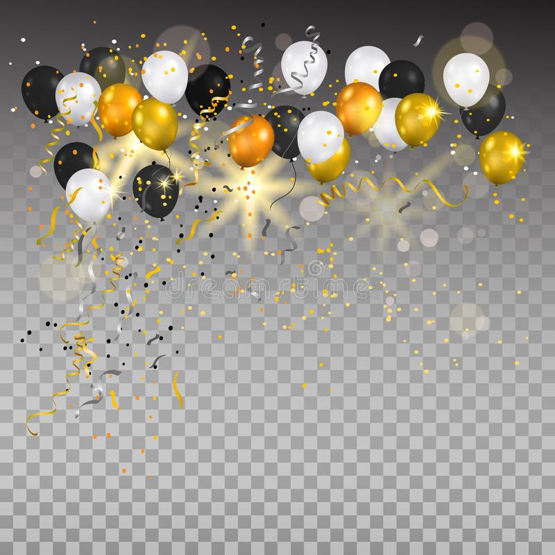 Gold and white balloons on transparent. vector illustration