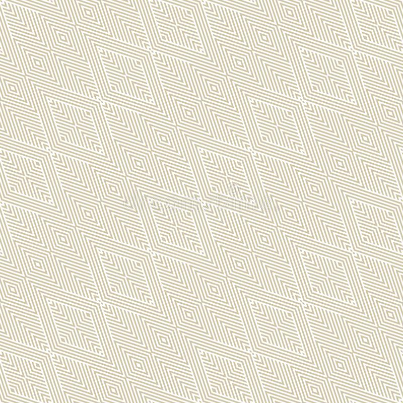 Gold and white vector geometric linear seamless pattern with diagonal stripes stock illustration