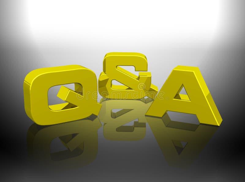 Gold-Wiedergabewort Q&A-3D lizenzfreie abbildung