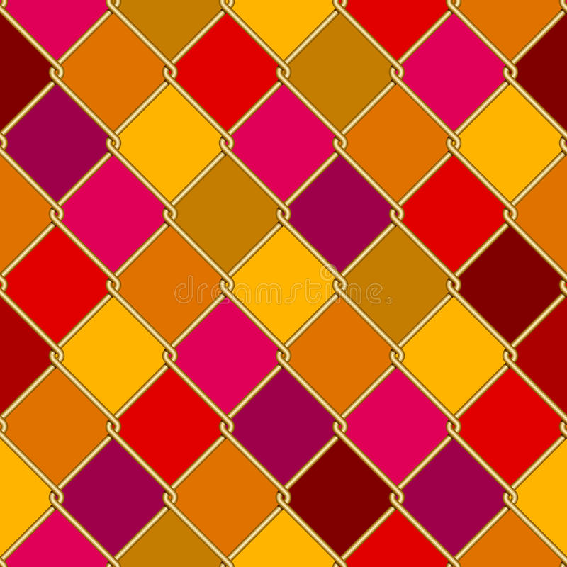 Gold wire grid seamless pattern on motley rhomboids background royalty free illustration