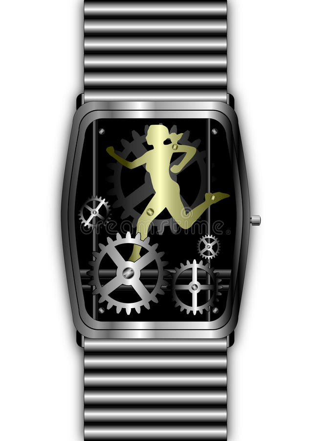 Download Gold Woman Running Out Of Time In Silver Watch Royalty Free Stock Image - Image: 13149976